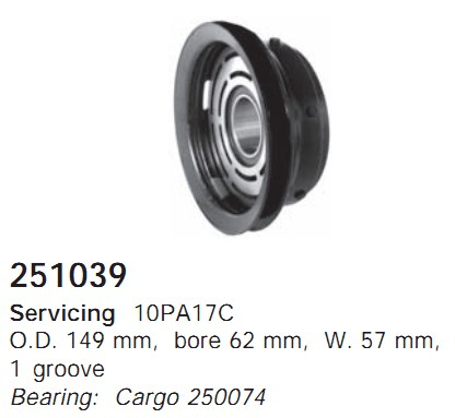 251039 Cargo Шкив компрессора