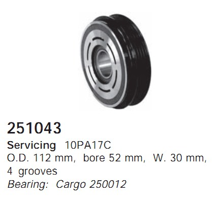 251043 Cargo Шкив компрессора